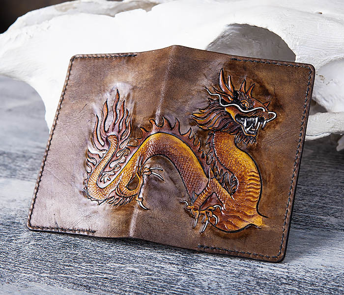 BC165 Кожаная обложка на паспорт с китайским драконом фото 04