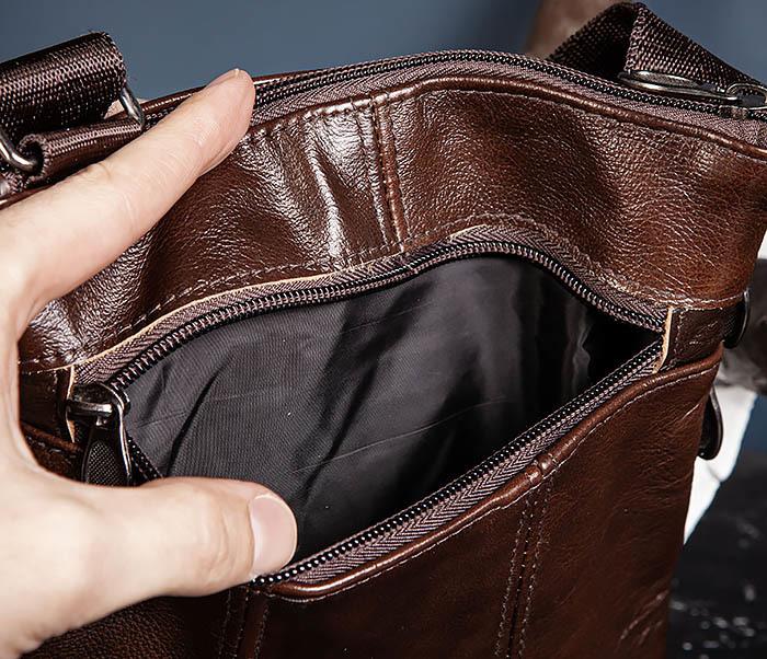 BAG540-2 Сумка планшет из натуральной коричневой кожи фото 07