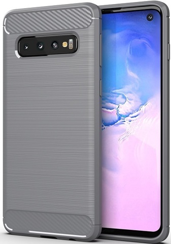 Чехол Carbon для Samsung Galaxy S10 серия Карбон | серый