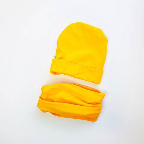 Шапочка со снудом жёлтая