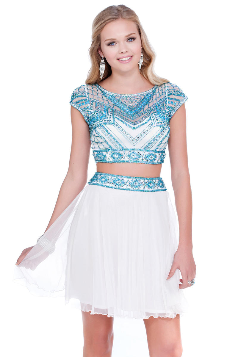White collection 18034 Платье кроп-топ, топ декорирован камнями и вышивкой, юбка с завышенной талией, короткая и пышная.