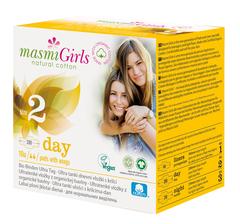 MASMI Ультратонкие дневные прокладки ДЛЯ ПОДРОСТКОВ Girls 200 mm с крылышками из органического хлопка  в индивидуальной упаковке, 10шт