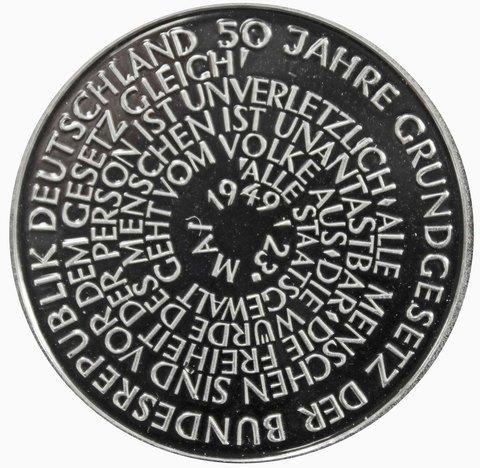 10 марок. 50 лет Конституции ФРГ (А). Серебро. 1999 г. PROOF