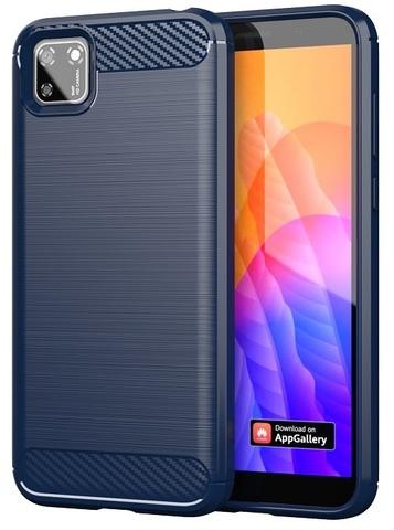 Чехол в стиле карбон для Huawei Y5P (2020 год), синий цвет, серия Carbon от Caseport