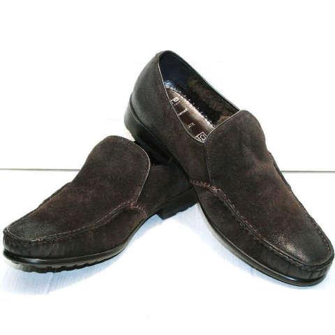 Зимние туфли мокасины кожаные. Мужские кожаные туфли мокасины с мехом Welfare-DBr.