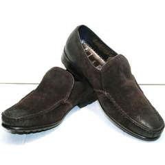 Мужские туфли мокасины с мехом Welfare 555841 Dark Brown Nubuk & Fur.