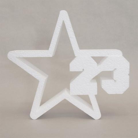 Звезда с цифрой 23 из пенопласта