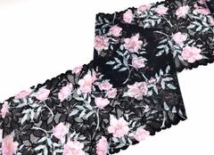 Эластичное кружево, 20 см, черное с розовыми цветами, м, (Арт: EK-2278), м