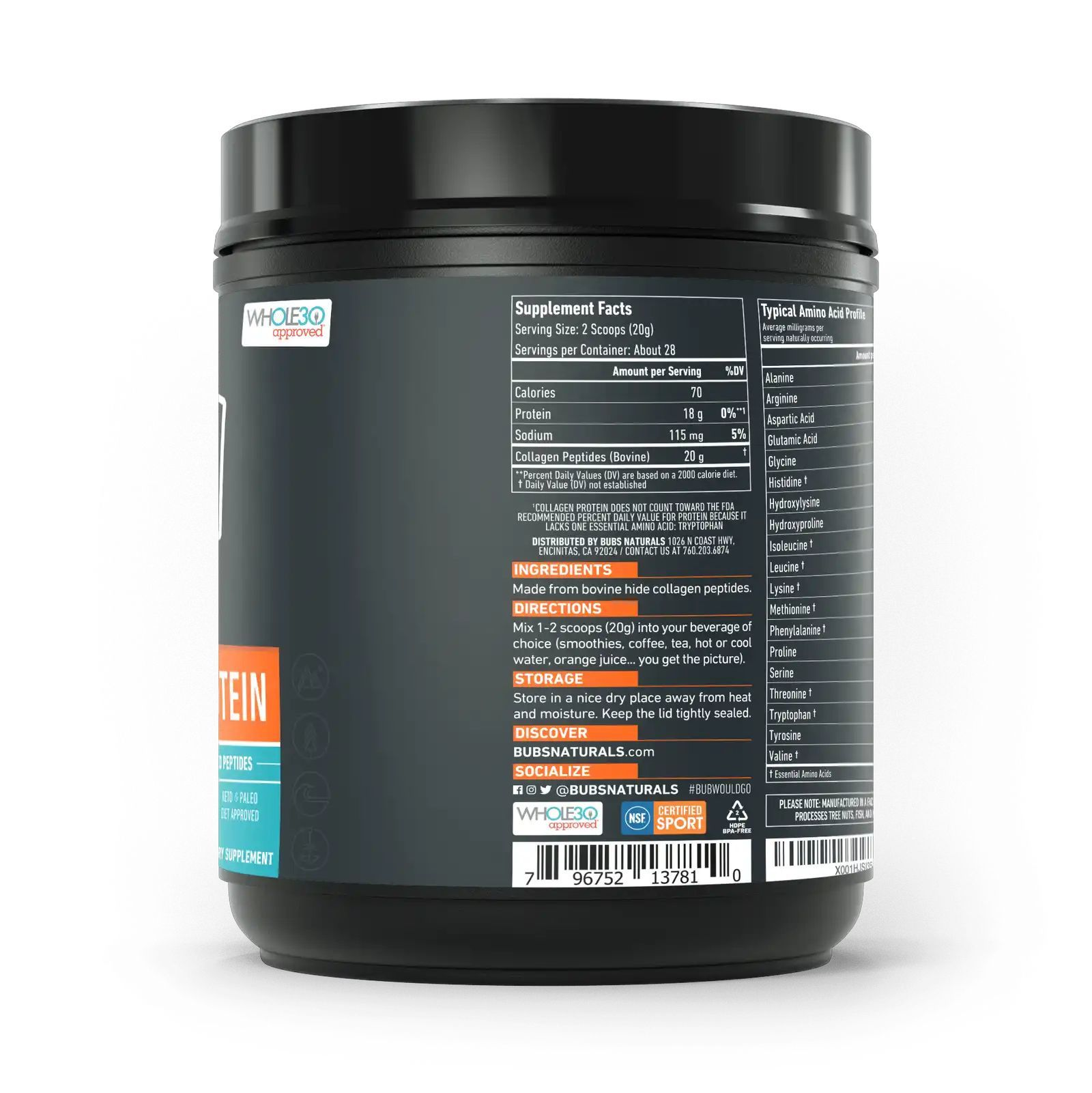 Коллагеновый протеин, Bubs Naturals, Collagen Protein, NSF certificate (567g)-2