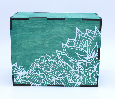 Коробка фанерная с печатью, симпл, 19*24*10 см
