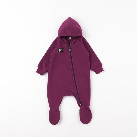 Warm hooded jumpsuit 0+, Plum