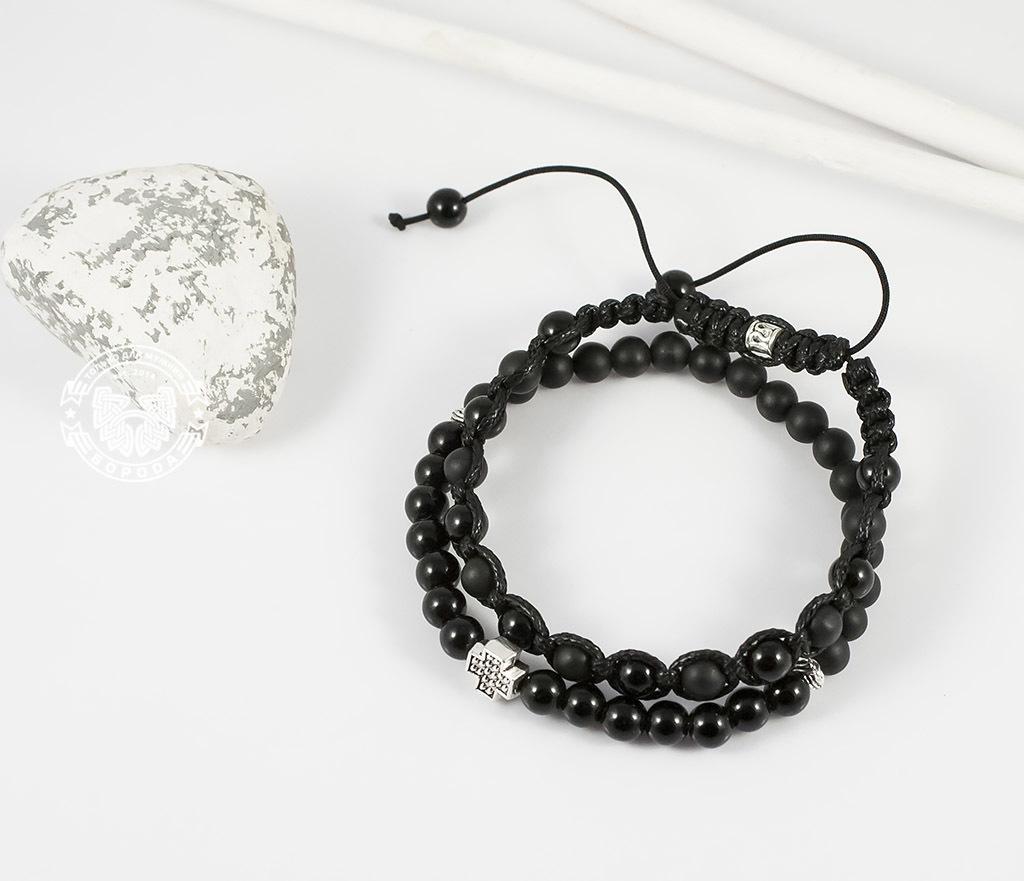 BS635-2 Пара черных мужских браслетов ручной работы из агата и шунгита. «Boroda Design» фото 02