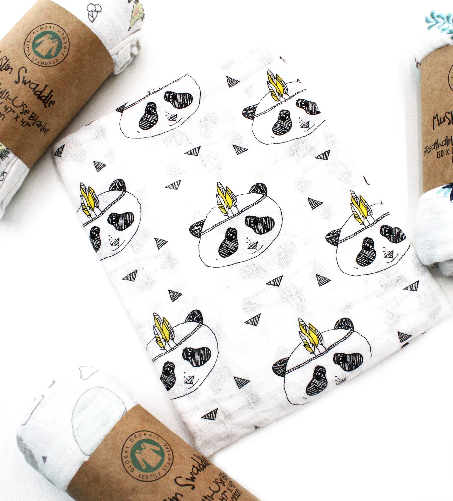 Муслиновая пеленка-панда-индеец(100х105см)