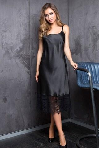 Элегантная длинная сорочка с кружевом Evelin черная
