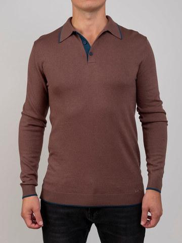 Мужской джемпер серо-коричневого цвета из шерсти и шелка - фото 2
