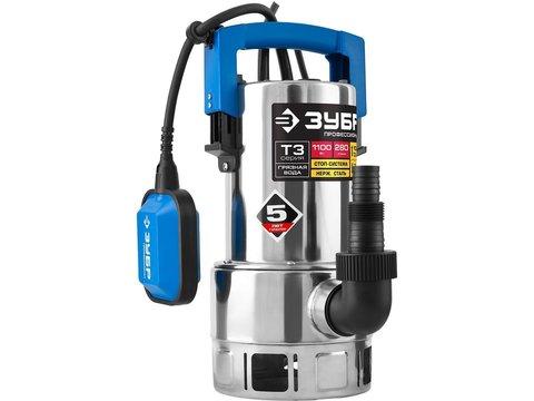 ЗУБР Профессионал НПГ-Т3-1100-С, дренажный насос  для грязной воды, корпус - нерж. сталь, 1100 Вт