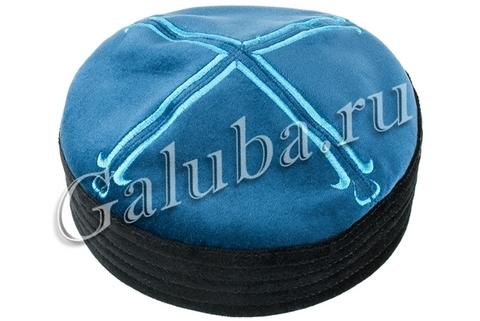 Тафья сине - чёрная бархат