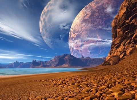 Алмазная Мозаика 38x28 Луна на побережье (арт. K1720)