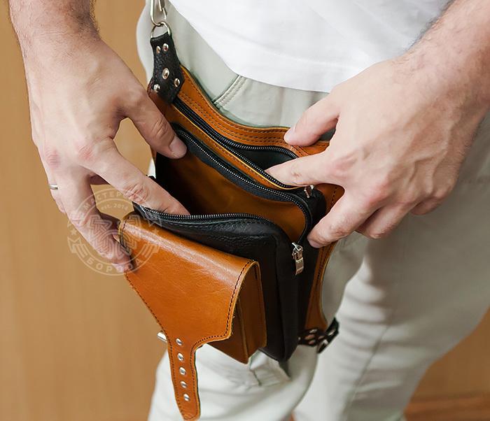 BAG369-6 Крутая мужская сумка на бедро из натуральной кожи, ручная работа фото 14