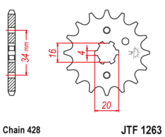 Звезда передняя JT F 1263.15 Yamaha XT 225 YBR 125