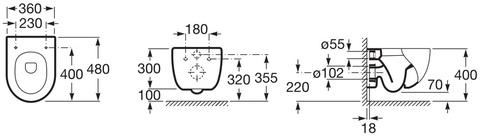 Унитаз подвесной Roca MERIDIAN COMPACT с крышкой-сиденьем м/л