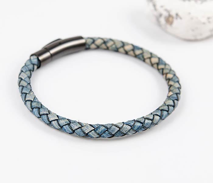 BM517-4 Браслет шнур из натуральной кожи голубого цвета фото 03
