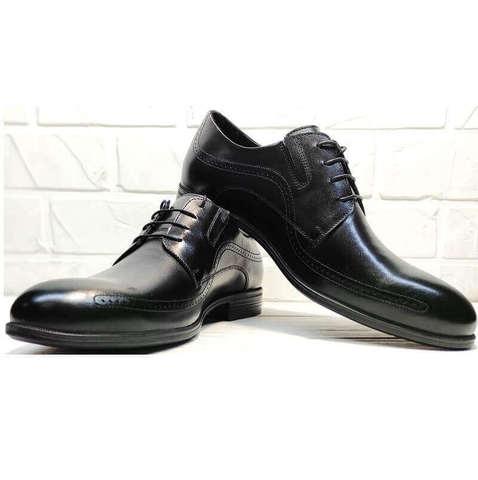 Черные туфли мужские классика. Дерби туфли мужские кожаные. Модные туфли броги Ikoc416BlL.