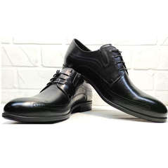 Дерби туфли мужские Ikoc 3416-1 Black Leather.