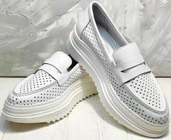 Белые кожаные кроссовки лоферы с белой подошвой Derem 372-17 All White.