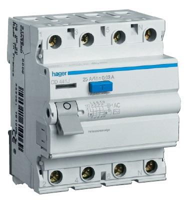 Устройство защитного отключения 4P 25A 300mA AC