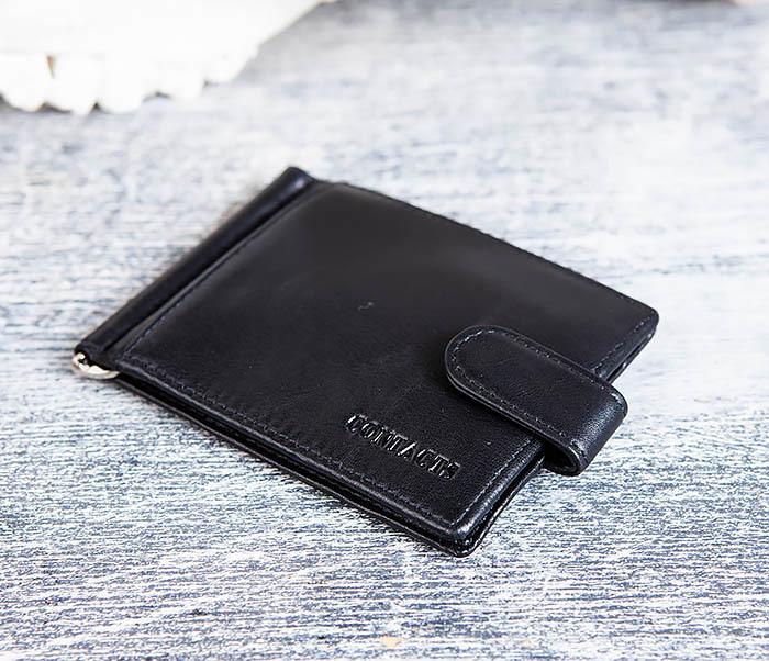 WL308-1 Мужской зажим для денег из черной кожи фото 02