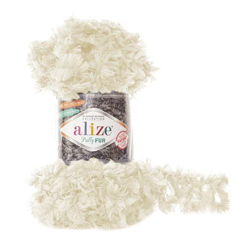Купить Пряжа Alize Puffy Fur Цвет 6113 Молочный | Интернет-магазин пряжи «Пряха»