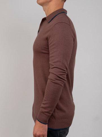 Мужской джемпер серо-коричневого цвета из шерсти и шелка - фото 3
