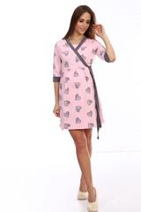 Мамаландия. Халат для беременных и кормящих с отрезной кокеткой, сердечки на розовом