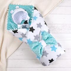 СуперМамкет. Конверт-одеяло с бантом и шапочкой Звезды, голубой вид 1