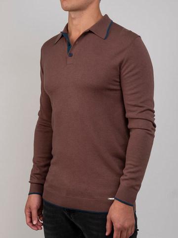 Мужской джемпер серо-коричневого цвета из шерсти и шелка - фото 1