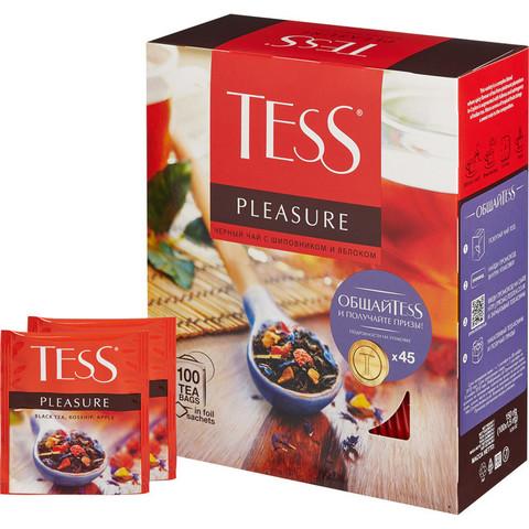 Чай Tess Pleasure черный с шиповником и яблоком 100 пакетиков