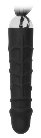 Черная плеть с рукоятью-фаллосом Whip with Realistic Silicone Dildo - 45,5 см.