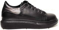 Осенние кеды кроссовки кожаные женские EVA collection 0721 All Black.
