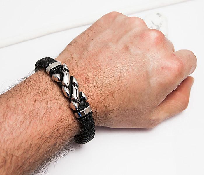 BM463 Массивный мужской браслет из плетеной кожи и стали (21,5 см) фото 06