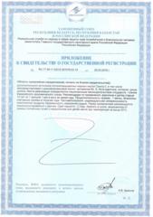 Приложение к свидетельству о государственной регистрации