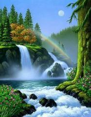 Картина раскраска по номерам 40x50 водопад в густом лесу
