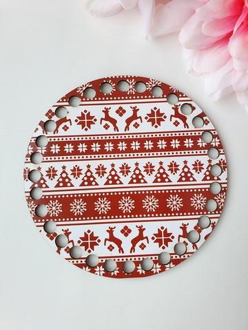 Круг диаметр 15 см, рисунок Олени новогодние