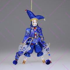Ёлочная игрушка Клоун цветной парчовый