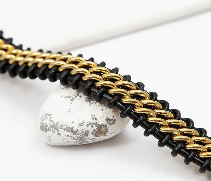 BM500-2 Мужской браслет из стали золотистого цвета и кожи (22 см) фото 03