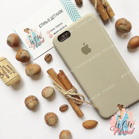 Чехол iPhone 6/6s Silicone Case /stone/ светло-серый original quality