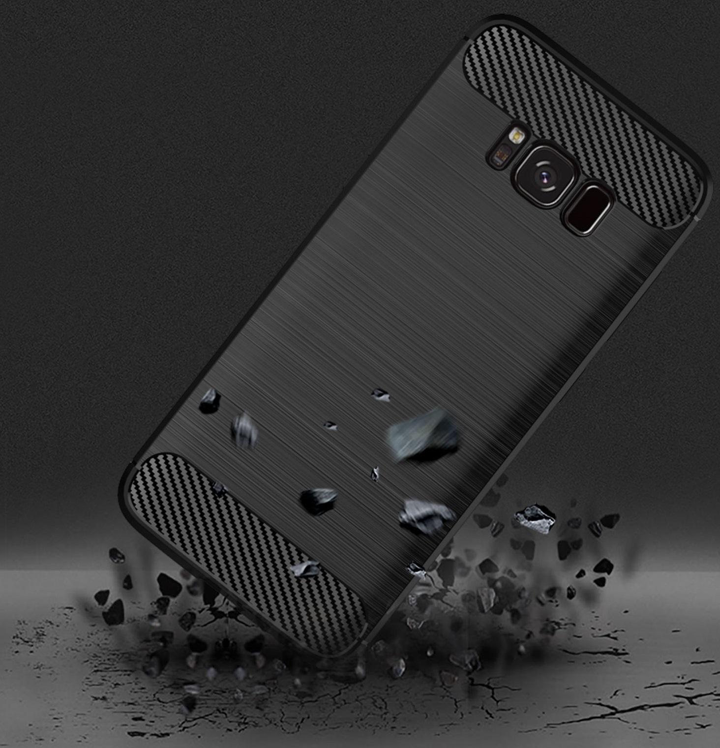 Чехол Samsung Galaxy S8 Plus цвет Black (черный), серия Carbon, Caseport