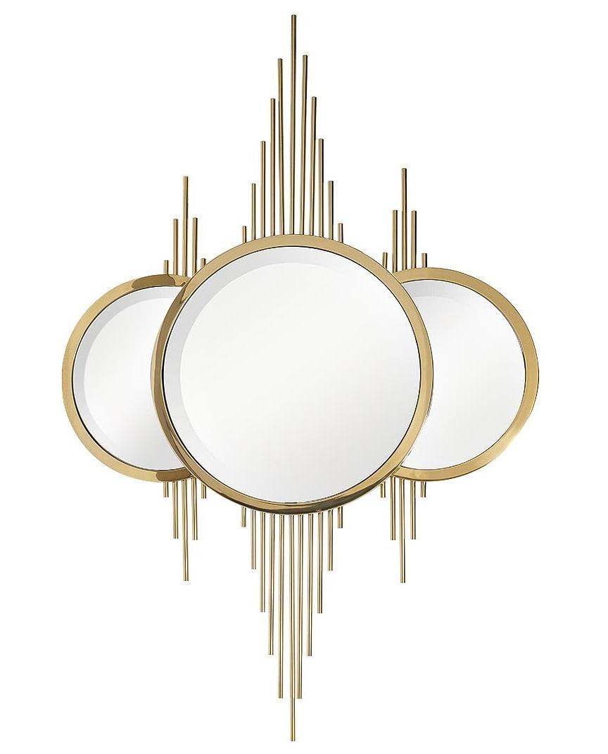 KFE1230 Зеркало декоративн. с метал. декором золото 80*120см