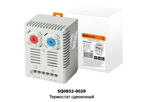Термостат сдвоенный NO/NC (охлаждение/обогрев) 10/5A 230В от 0 до +60°C TDM