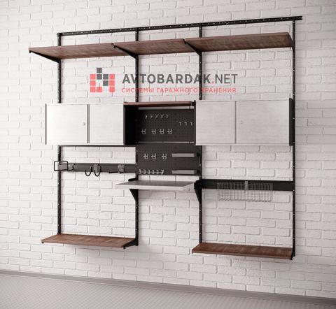 Комплект лофт №6: деревянные полки, откидной верстак, ящики, рейлинги, перфопанели